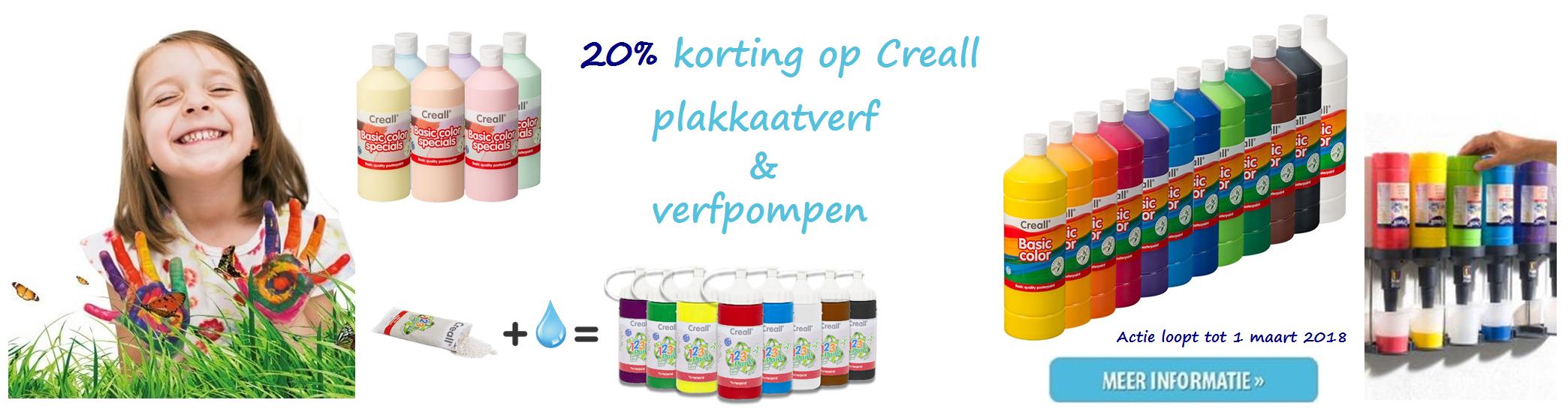 20% korting Creall plakkaatverf en verfpompen tot 01 mrt 2018